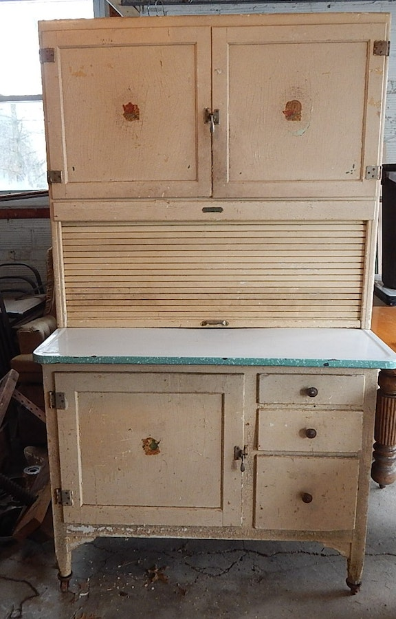 Antique Shabby Chic Painted Sellers Roll-Top Kitchen ...