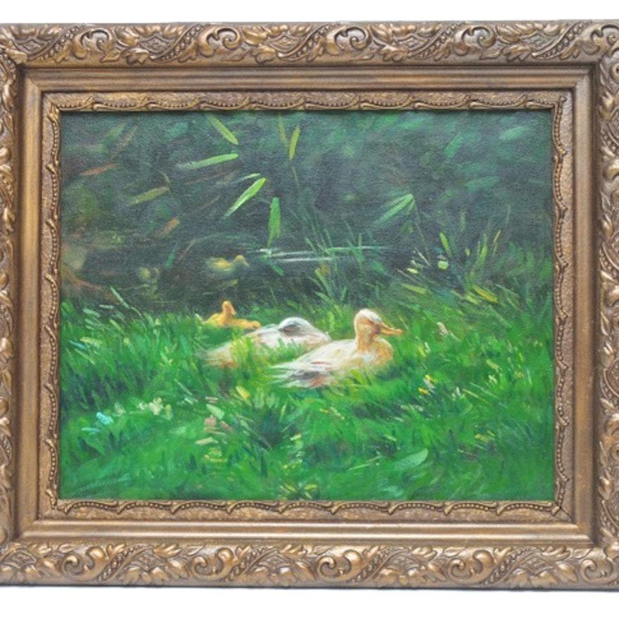Oil Painting of Duck Family in Golden Frame : EBTH