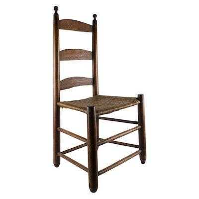 Pilgrim Slat Chair with Woven Seat - Online Furniture Auctions Vintage Furniture Auction Antique