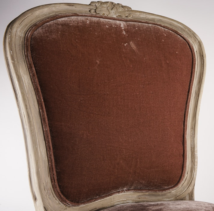 ... Consignment Furniture Charlotte By French Provincial Style Velvet  Covered Side Chair Ebth ...