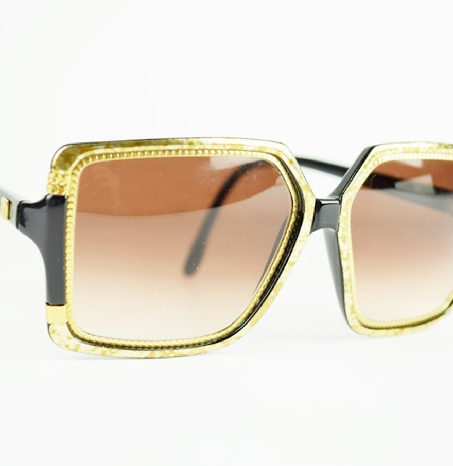 Vintage Ted Lapidus Sunglasses in Black and Gold Frames : EBTH