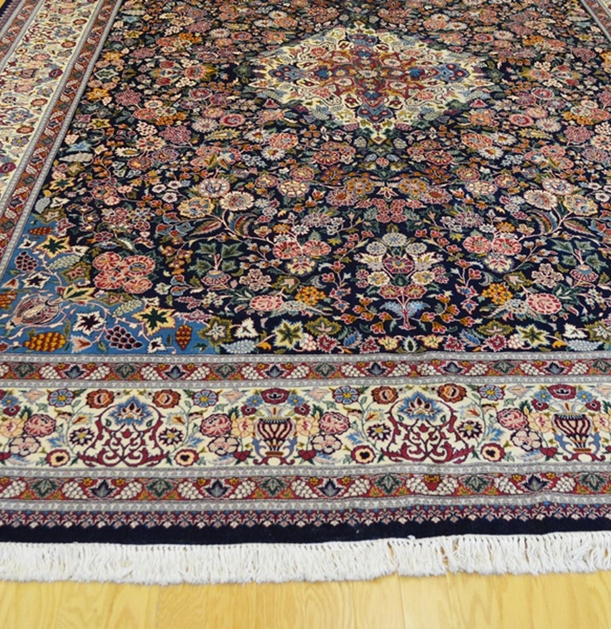 Persian Style Wool Area Rug Ebth: Jerry Aziz Persian Tabriz Style Navy Wool Vase Rug : EBTH