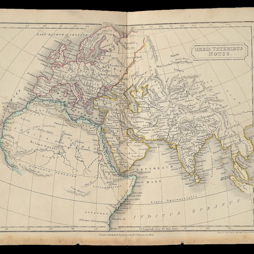 Map Of Africa 1850.1850 Map Of Europe Africa And Asia Orbis Veteribus Notus Ebth