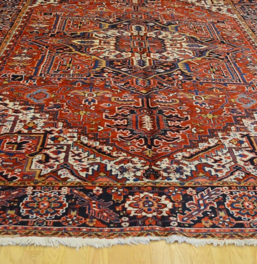 Vintage Persian Heriz Design Wool Area Rug: 1920's Antique Persian Heriz Wool Area Rug : EBTH