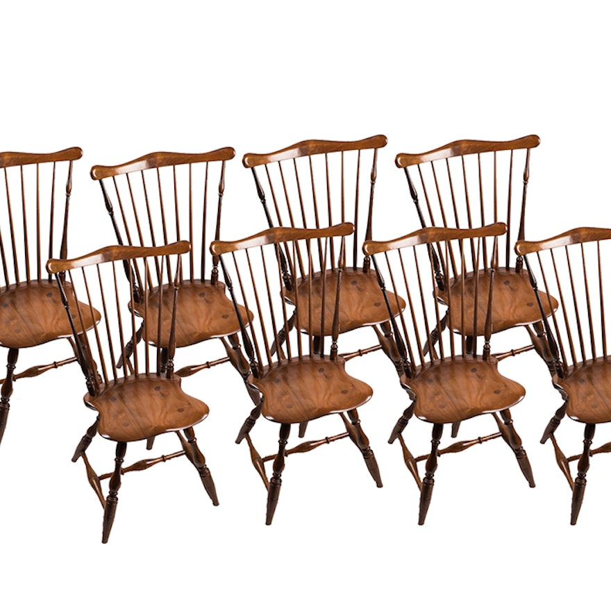 Hand Crafted Robert Treate Hogg Cherry Windsor Dining Chairs