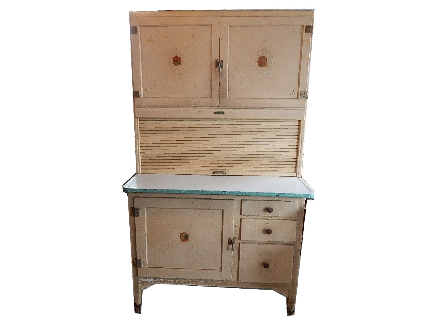 Shabby Chic Kitchen Cabinets: Antique Shabby Chic Painted Sellers Roll-Top Kitchen