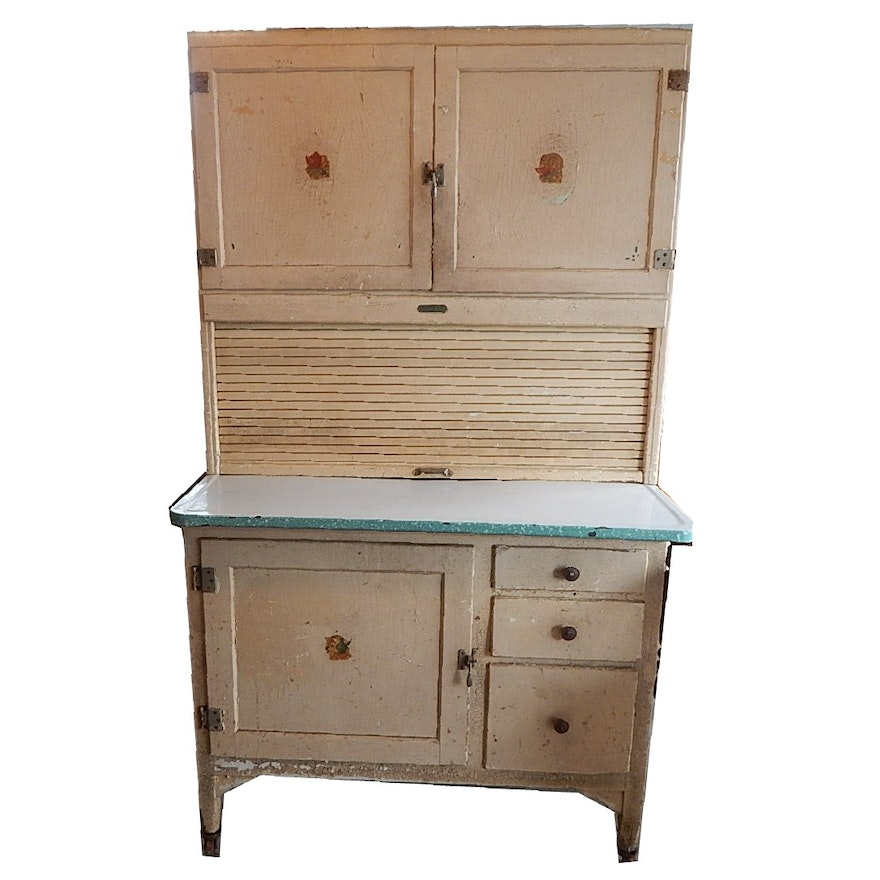 Antique Shabby Chic Painted Sellers Roll-Top Kitchen Cabinet