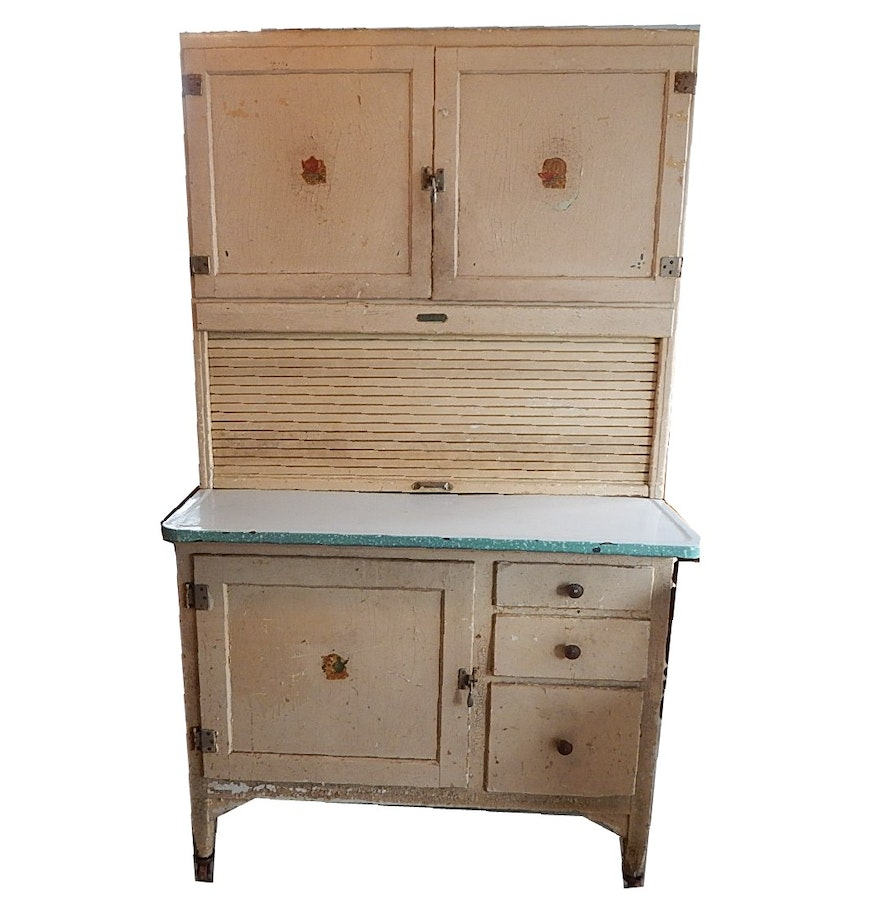 Shabby Chic Kitchen Furniture Antique Shabby Chic Painted Sellers Roll Top Kitchen Cabinet Ebth