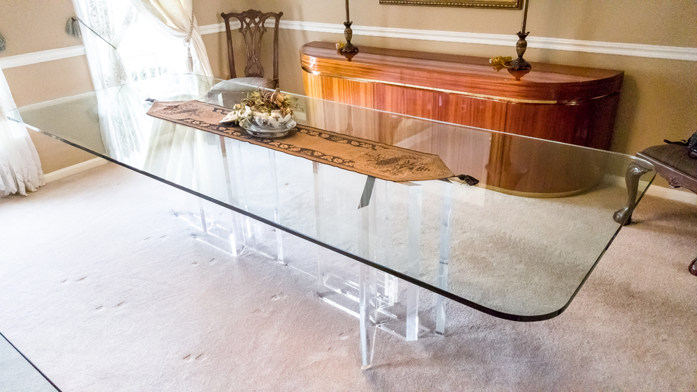Jeffrey Bigelow Glass and Lucite Dining Room Table EBTH