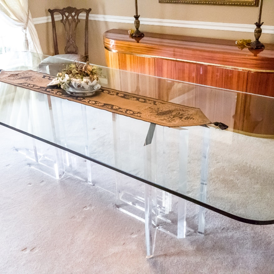 Jeffrey Bigelow Glass and Lucite Dining Room Table : EBTH