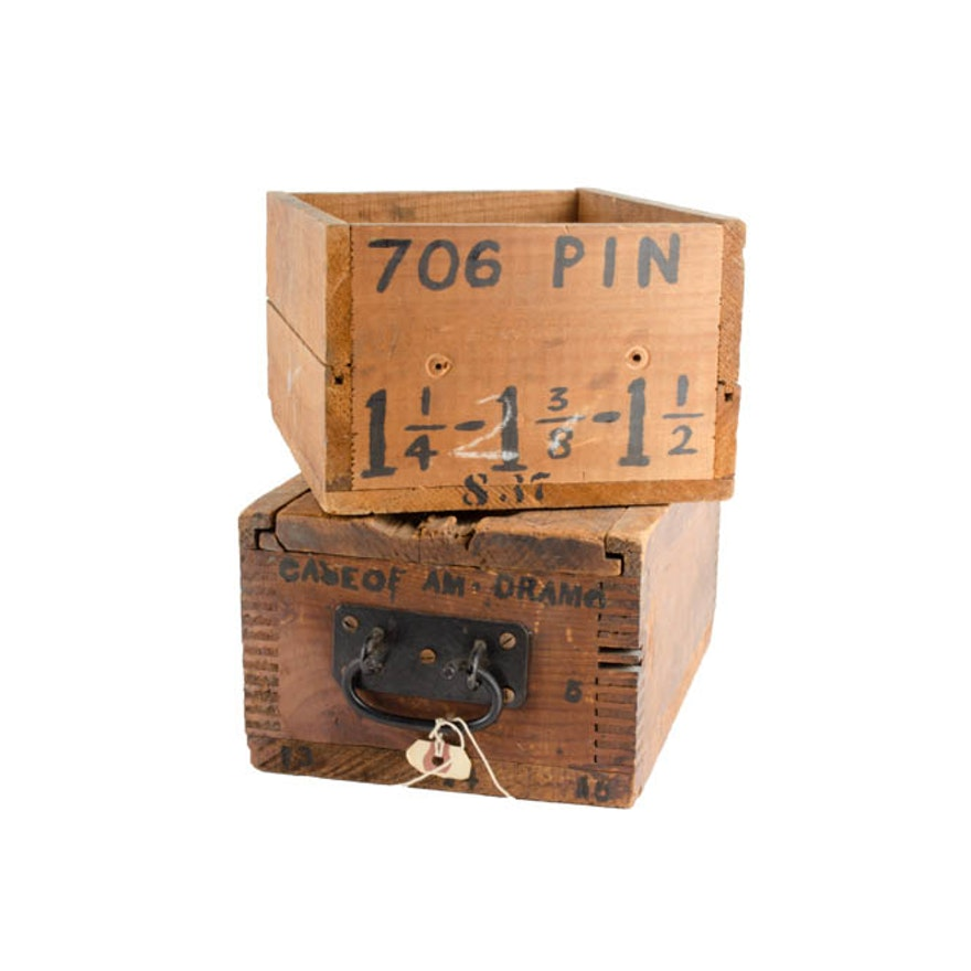 Antique Wood Storage Bo