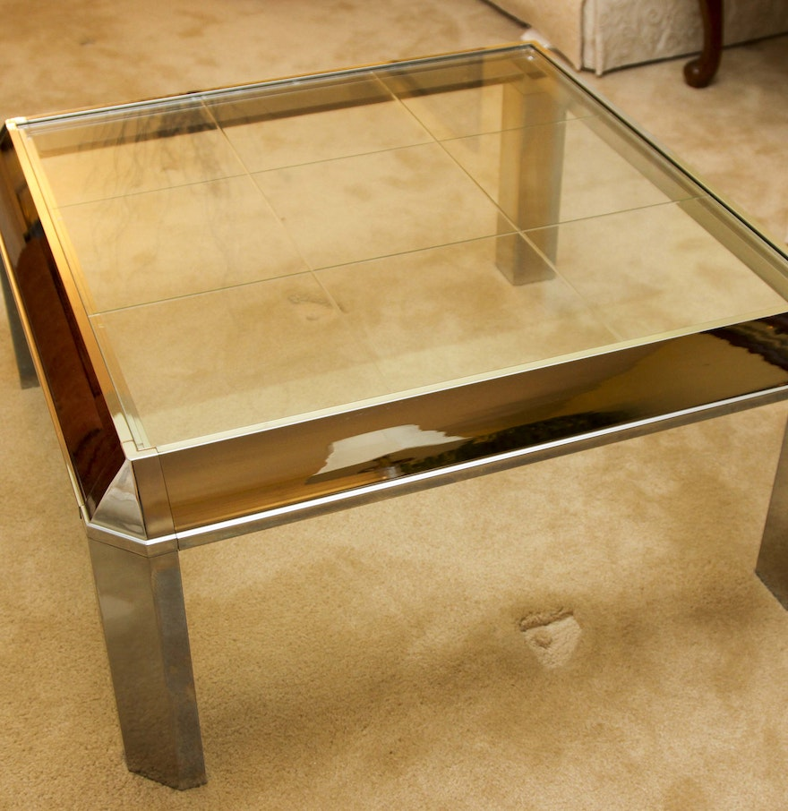 Retro Mirrored Metal And Glass Top Coffee Table Ebth