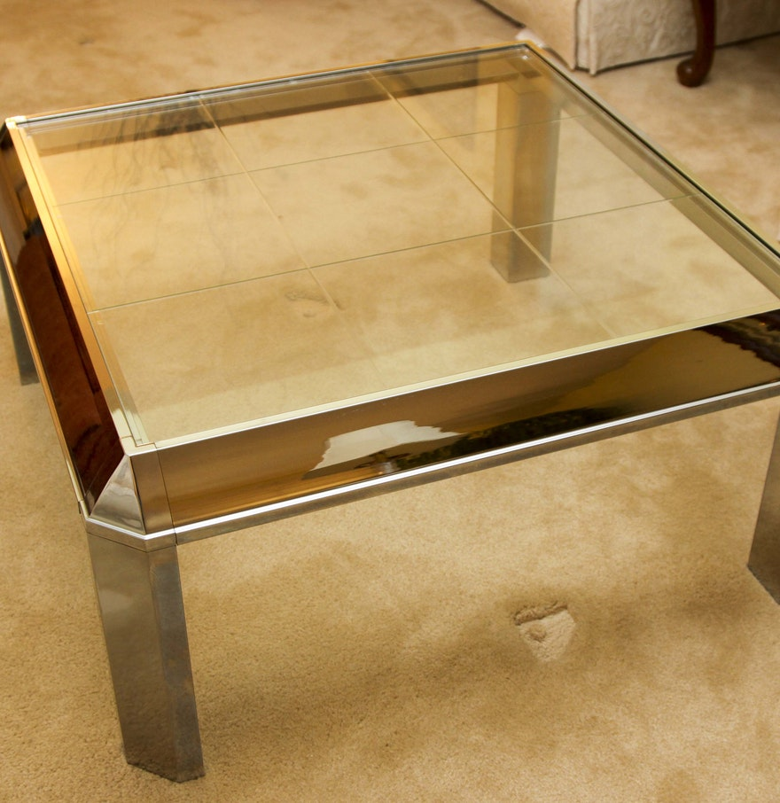 Retro mirrored metal and glass top coffee table ebth Metal glass top coffee table