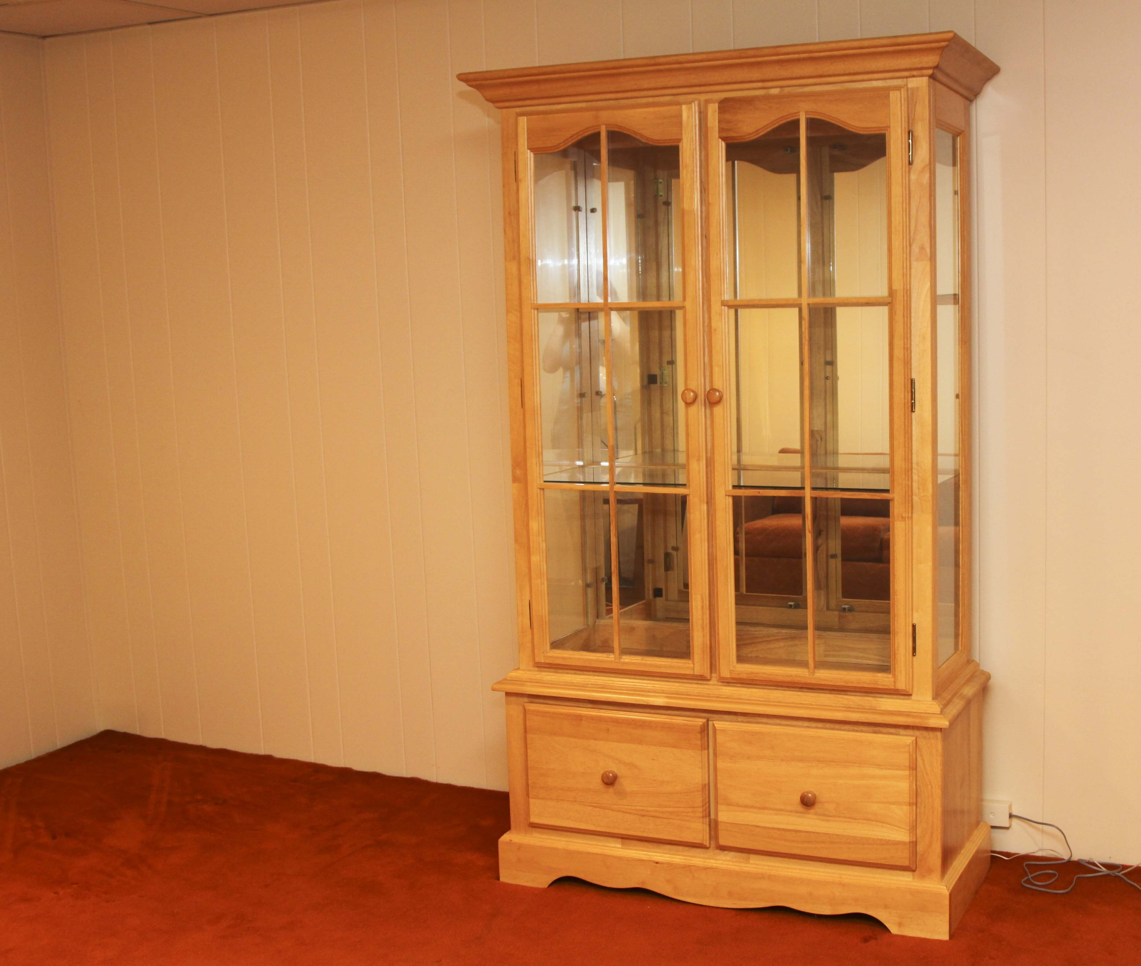 Pine Wood and Glass China Cabinet