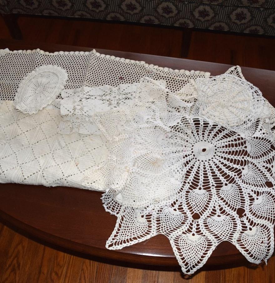 Collection of antique crochet decor ebth - Crochet mural vintage ...