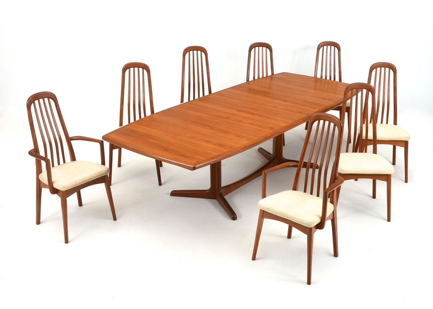 danish modern teak dining table and eight chairs ebth
