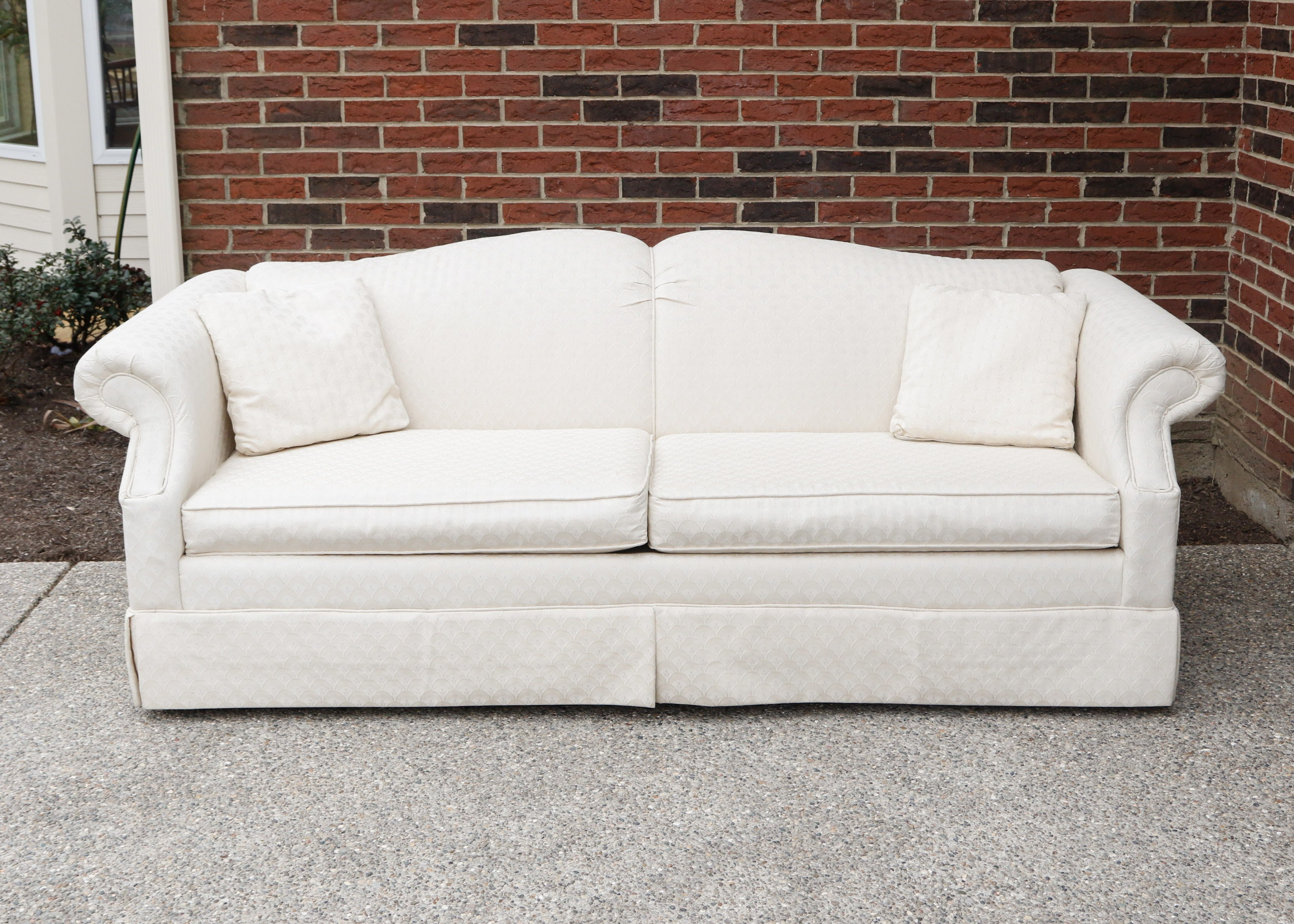 Traditional Skirted Sofa In Cream Upholstery ...