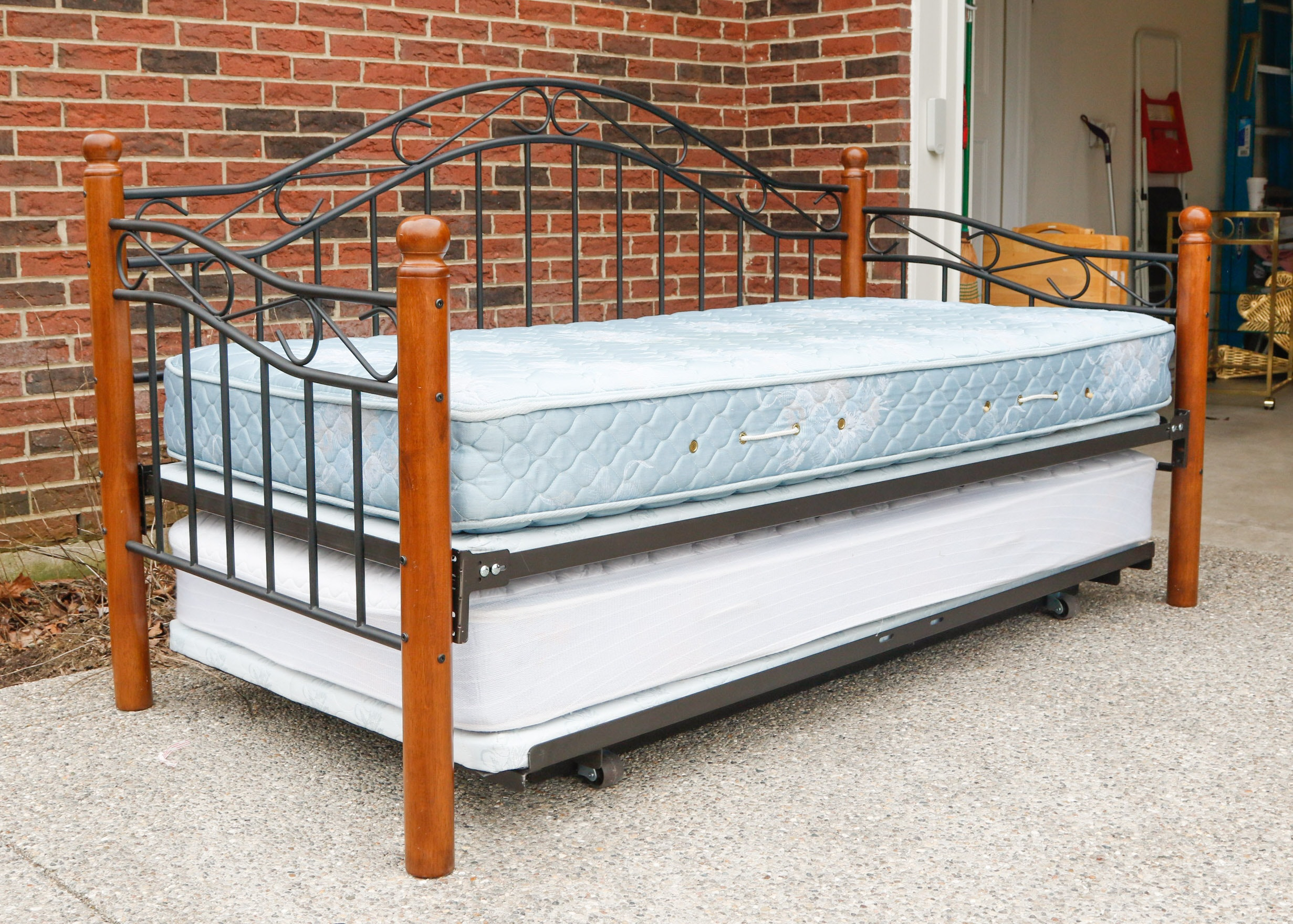Black Metal Bed Black Metal Bed Frame 8 Premier Annika: Wood And Iron Daybed With Trundle : EBTH
