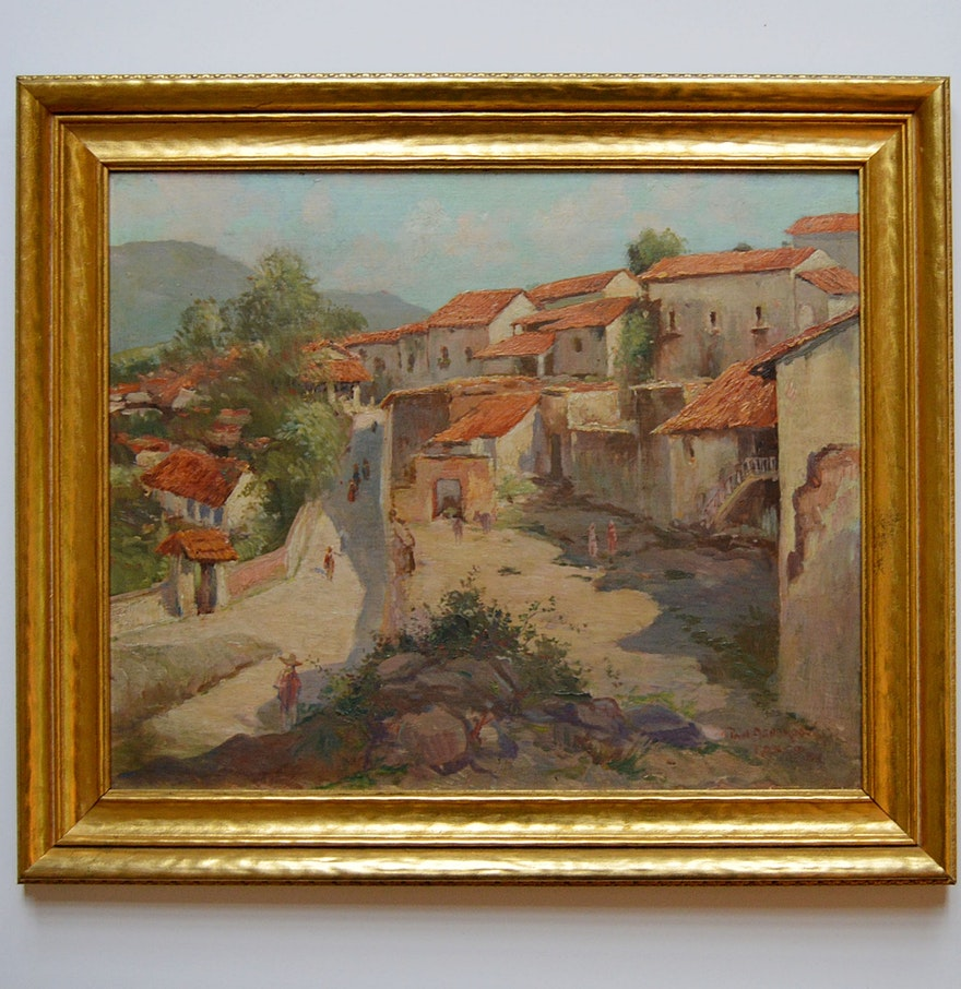 Fine watercolor art for sale - Paul Ashbrook Original Signed Oil On Canvas Of A Mexican Village