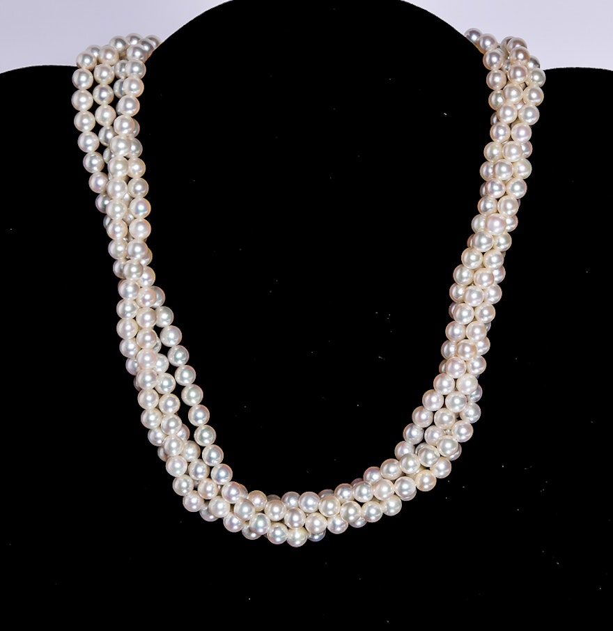 String Pearl Necklace: Four String Pearl Necklace With 18K Yellow Gold Clasp : EBTH