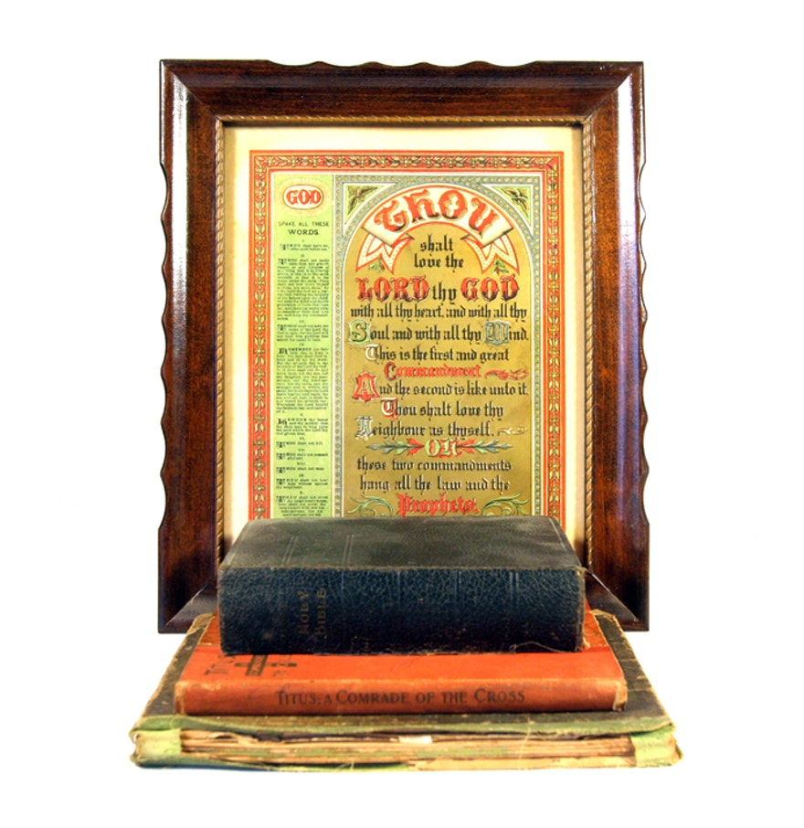 Antique religious books and decor ebth for Antique books for decoration