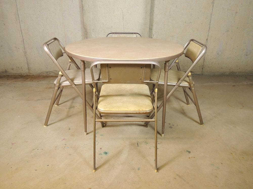 Samsonite Round Folding Card Table And Chairs ...