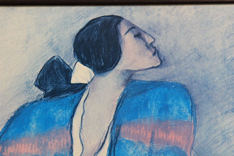 R C Gorman Offset Lithograph Quot Woman With The Blue Blanket