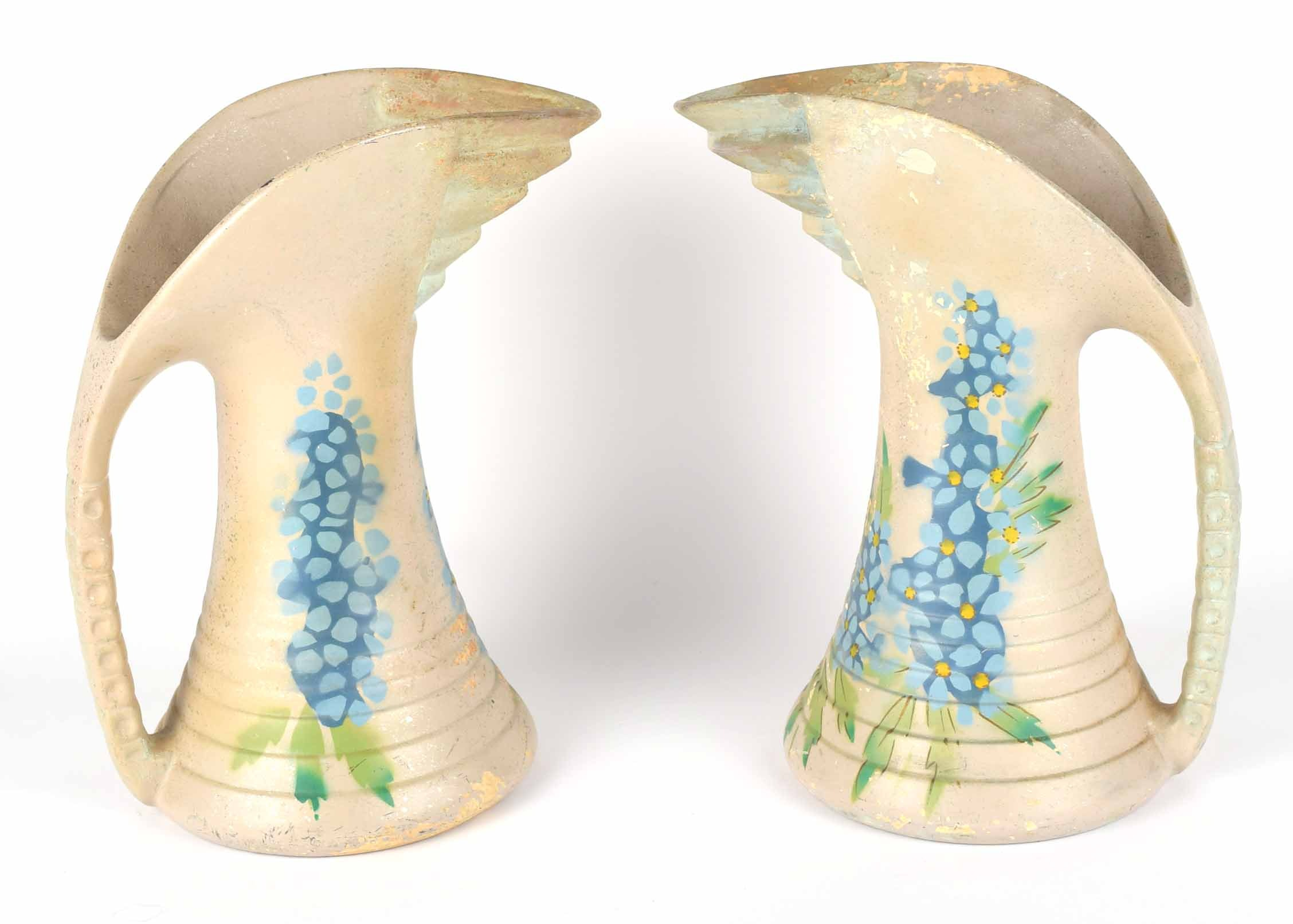 Hand-Painted Chelsea England Pottery Pitcher Pair