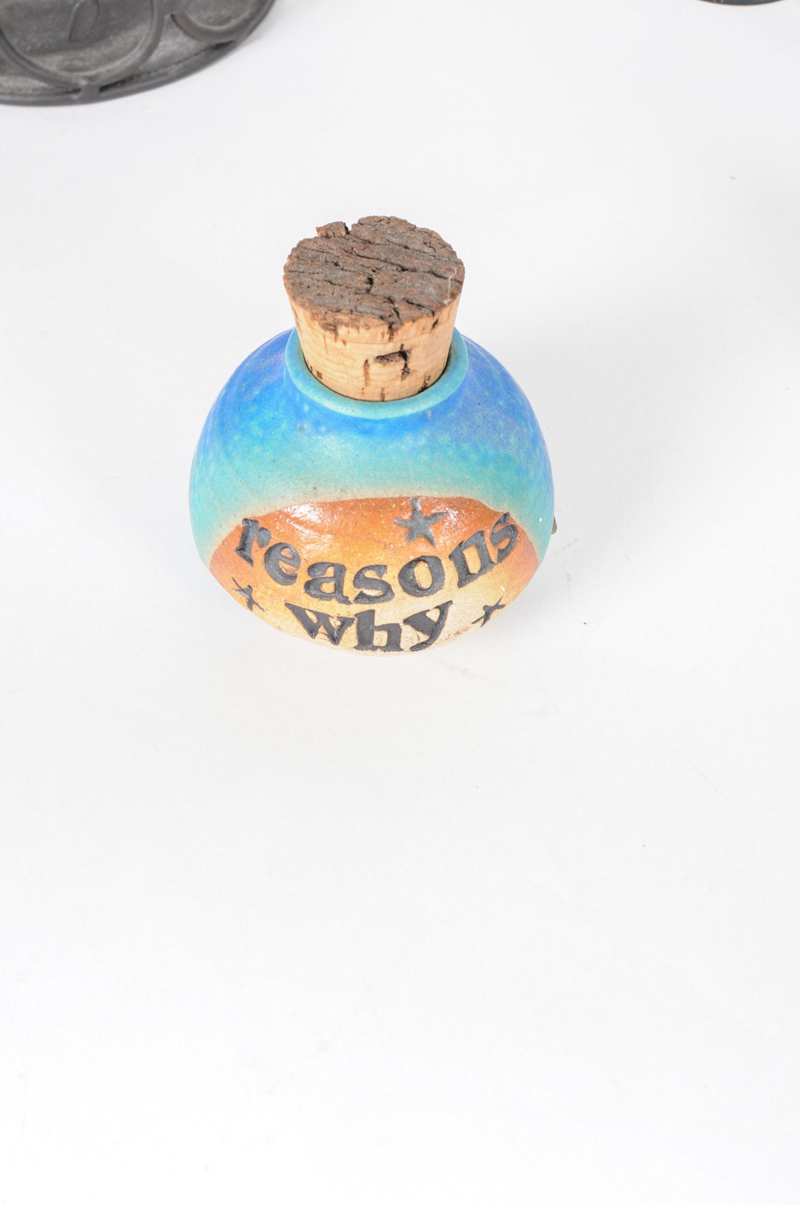 Stoneware Bottle And Metal Display Decor Ebth