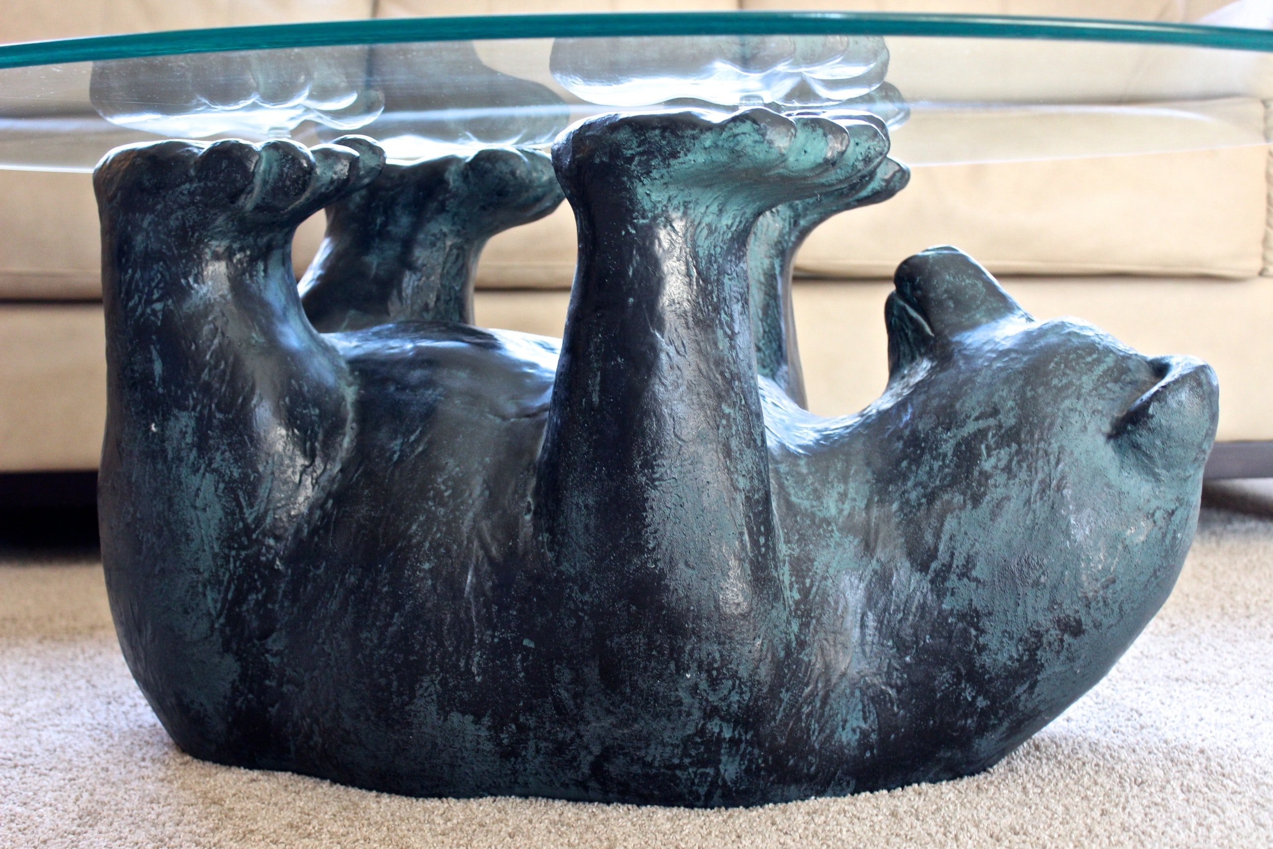 Delicieux Glass Top Bear Coffee Table ...