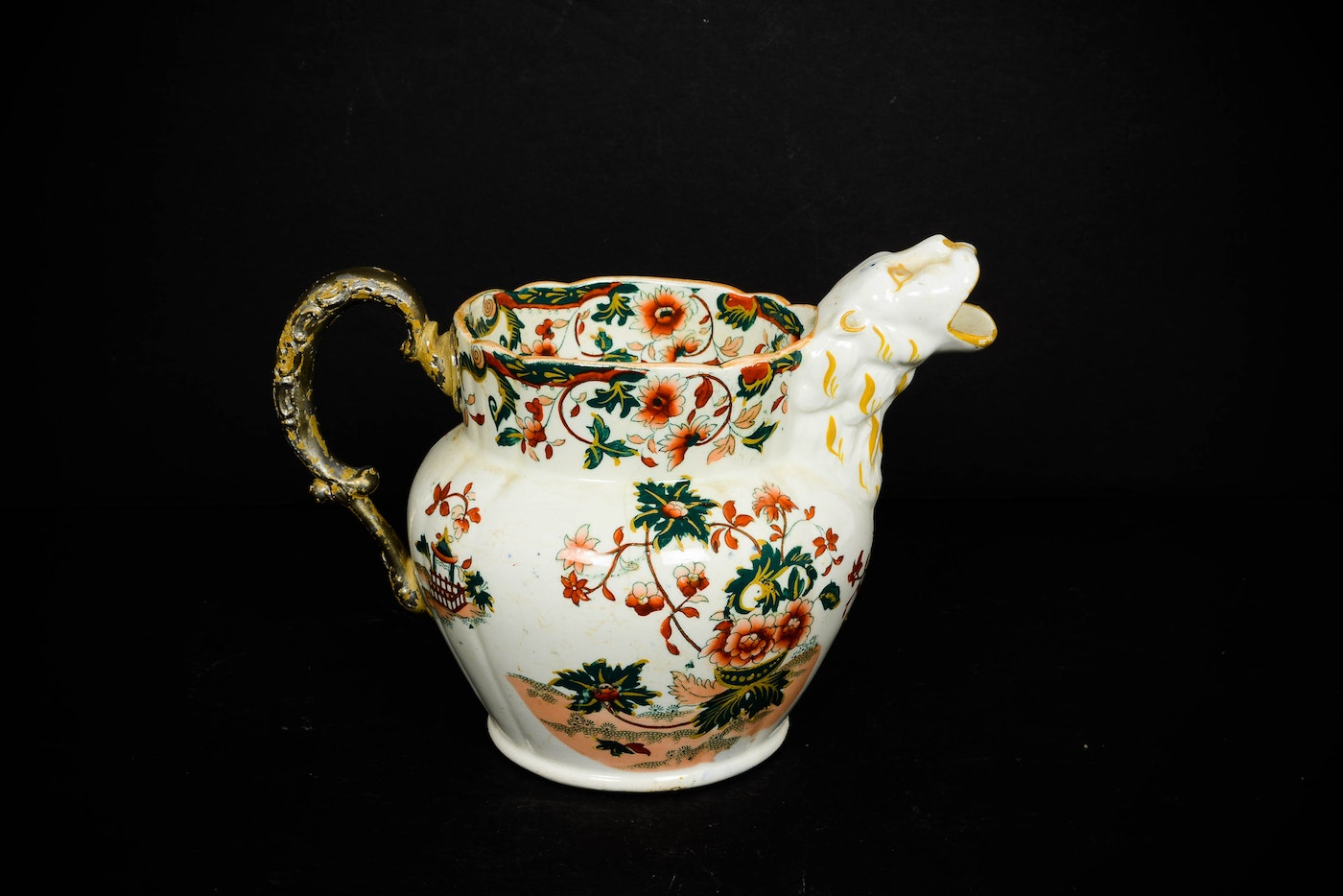 Antique Staffordshire Asian Inspired Jug With Lion Spout