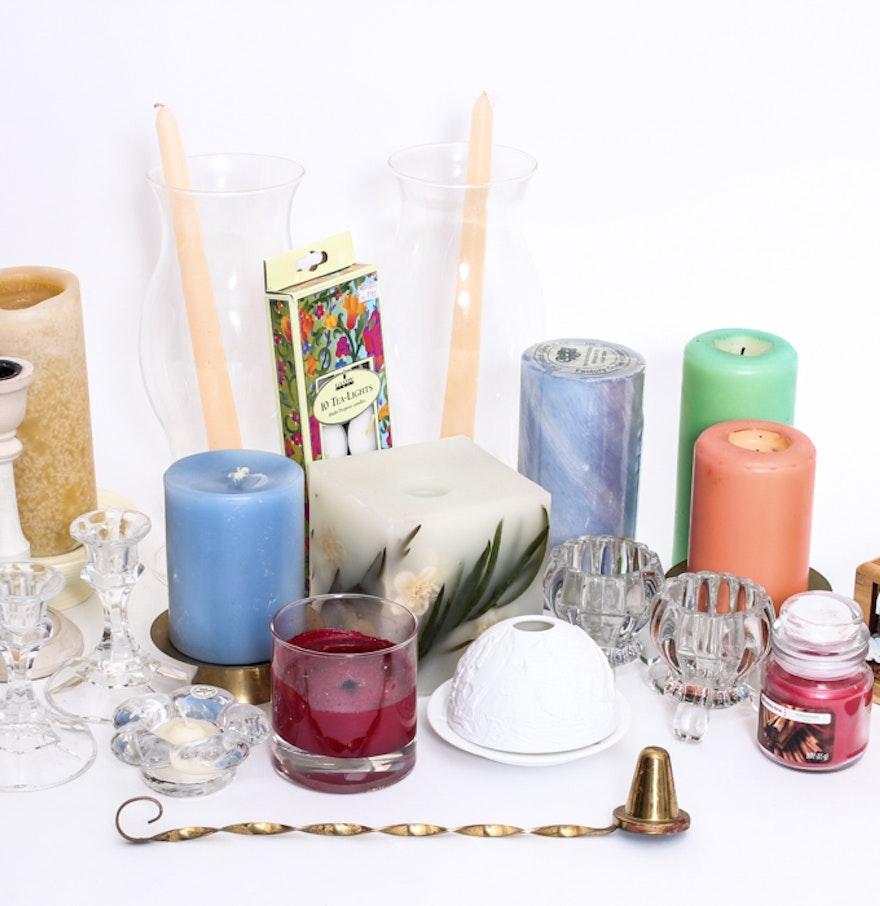 Mixture of Candles, Featuring a Bernardaud Lithophane Votive : EBTH