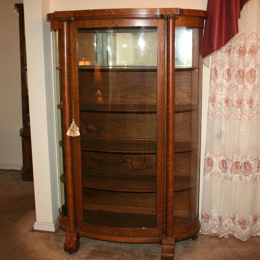 Antique Tiger Oak China Cabinet ... - Antique Tiger Oak China Cabinet : EBTH