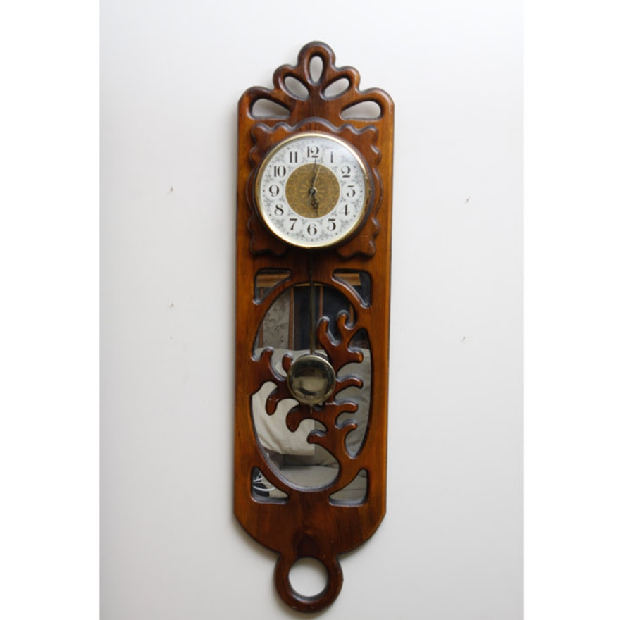 S vintage carved wood pendulum wall clock ebth