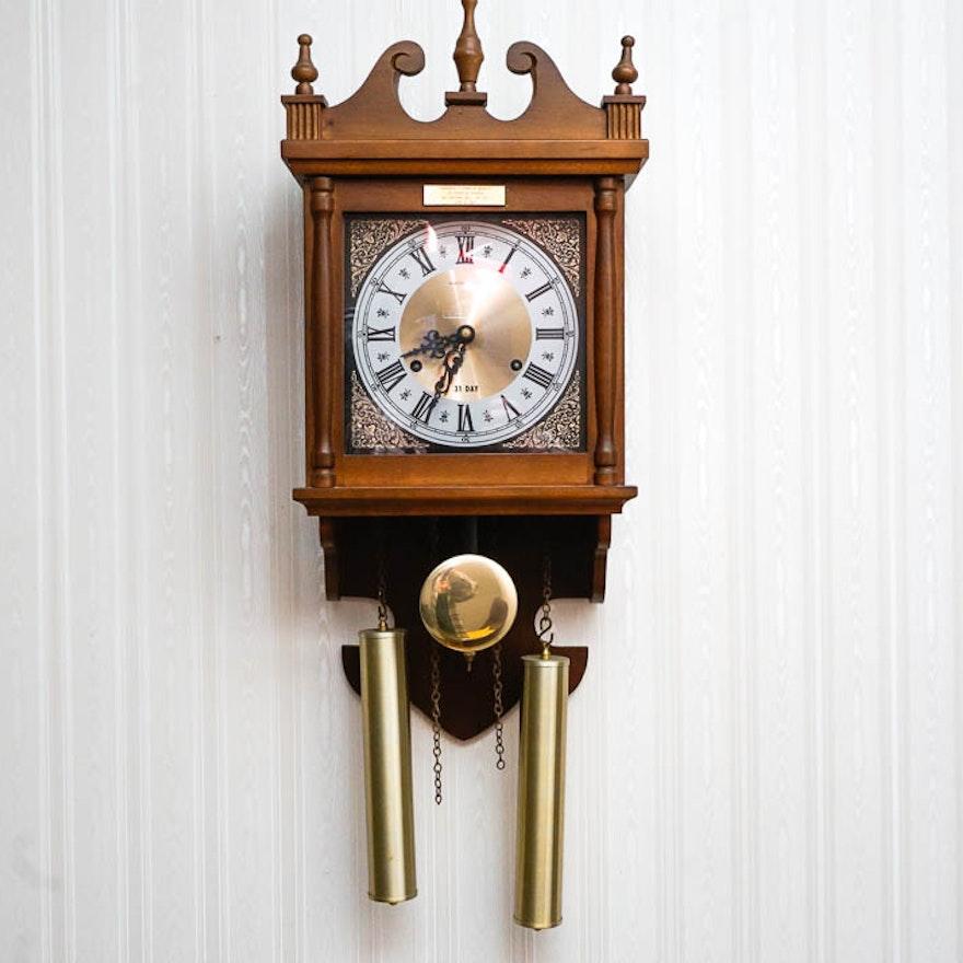Vintage Hamilton Two Key 31 Day Wall Clock Ebth