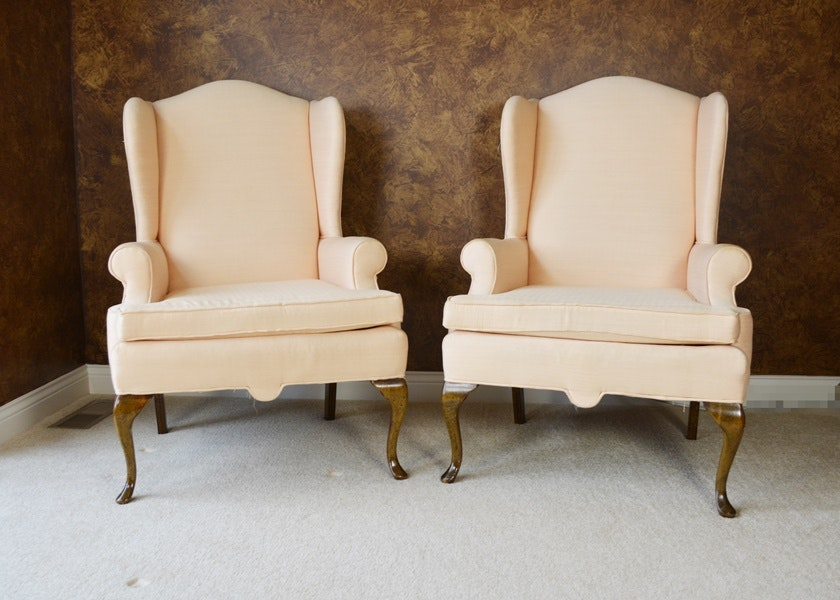 Pair Of Fairfield Upholstered Wingback Chairs ...