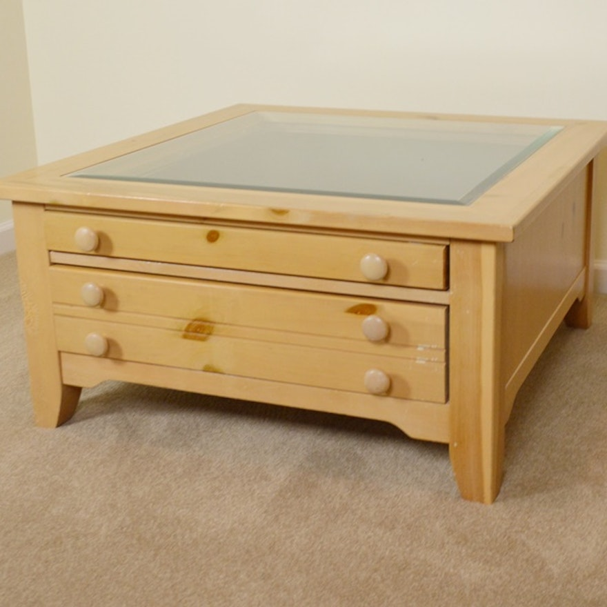 Broyhill Pine Shadowbox Coffee Table