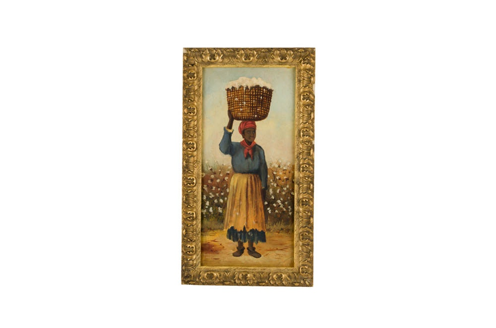 Antique Cotton Field Worker Oil Painting