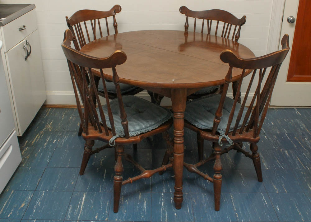 temple stuart walnut table and chairs : ebth
