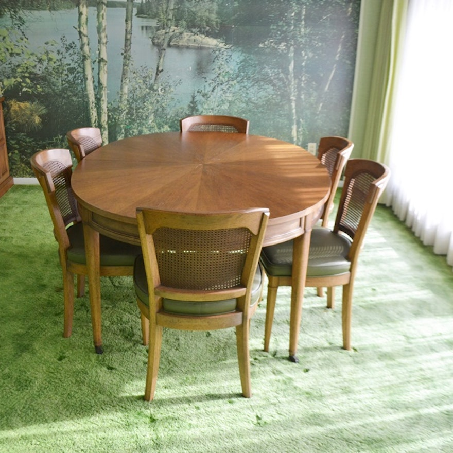 Vintage 1970s Henredon Dining Table Six Chairs