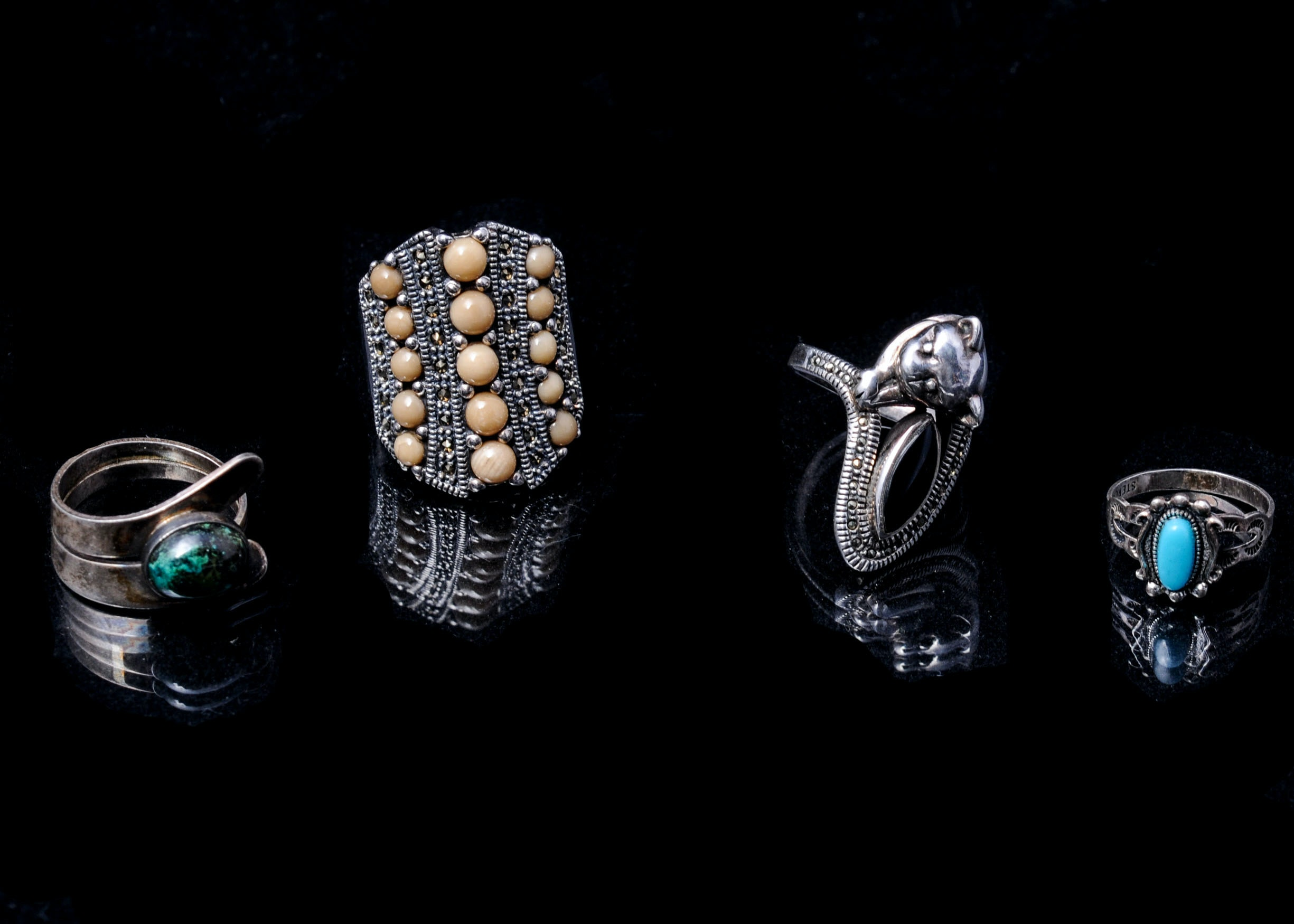 Exotic Sterling Silver Ring Quartet