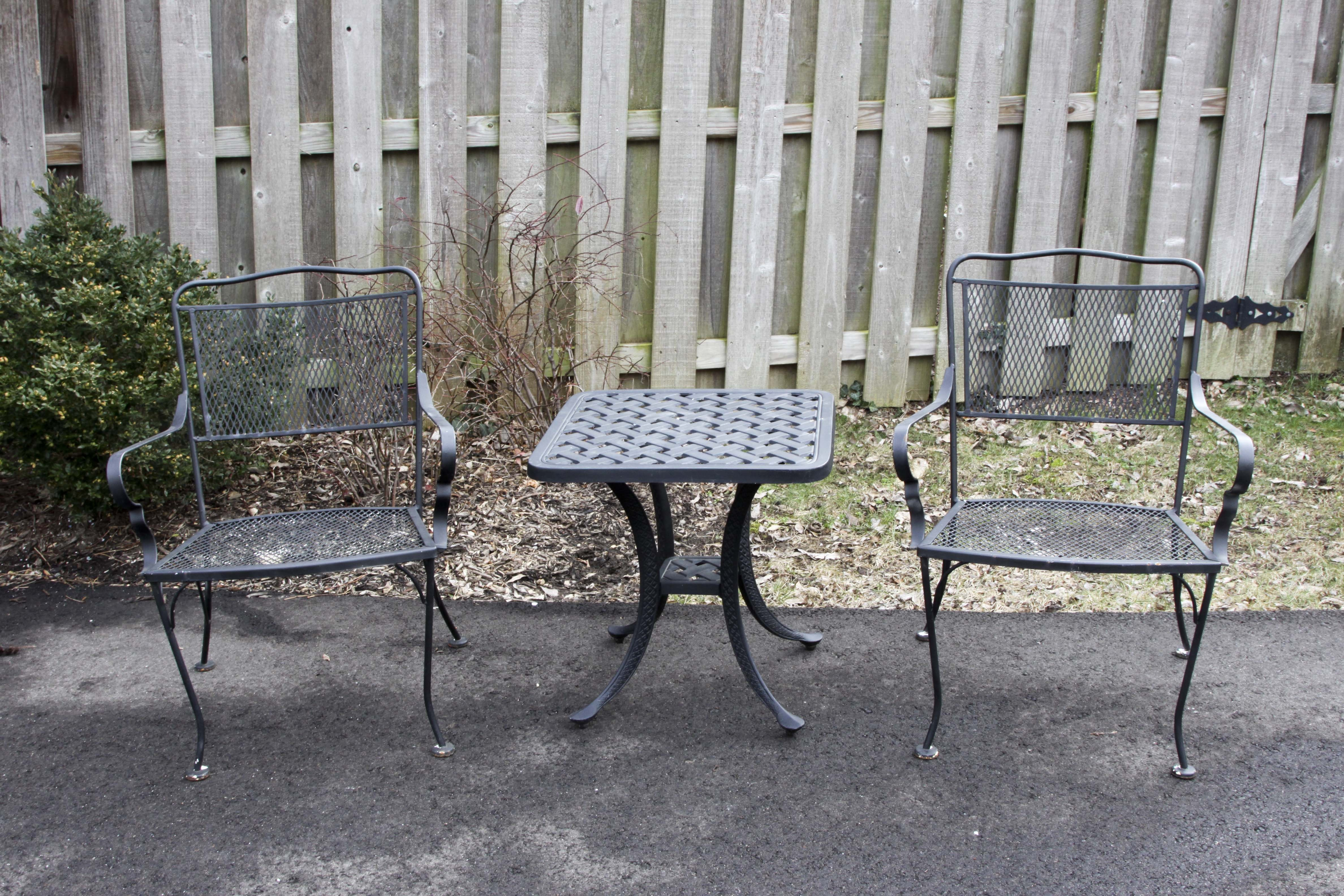 Black Wrought Iron Patio Set EBTH