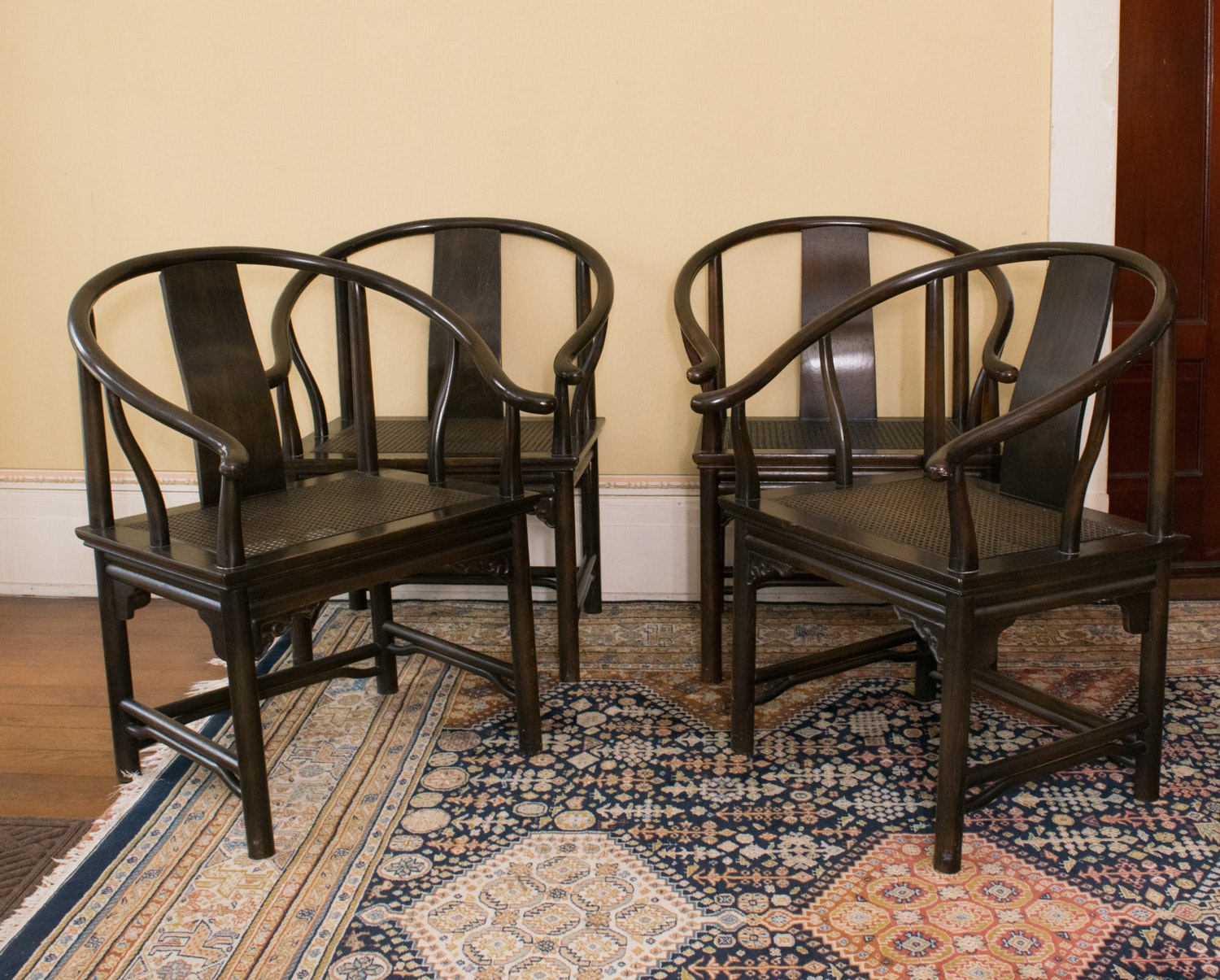 Delicieux Four Vintage Drexel Heritage Asian Style Curved Back Chairs ...