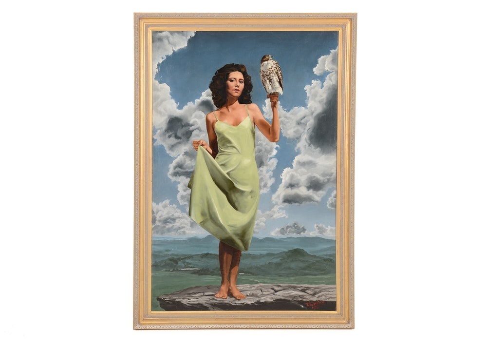 Tom Lohre Oil Painting of Woman with Falcon