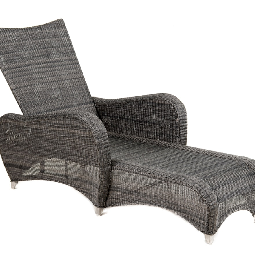 Wondrous Frontgate Chaise Lounge In Black Wicker Pdpeps Interior Chair Design Pdpepsorg