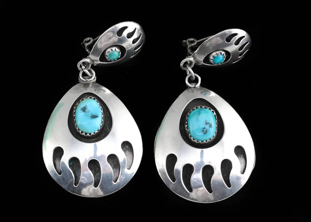 Navajo Turquoise Shadowbox Silver Clip-On Earrings  Native American  Retro Earrings  Clip-On Earrings  Gift for her  Unique Earrings