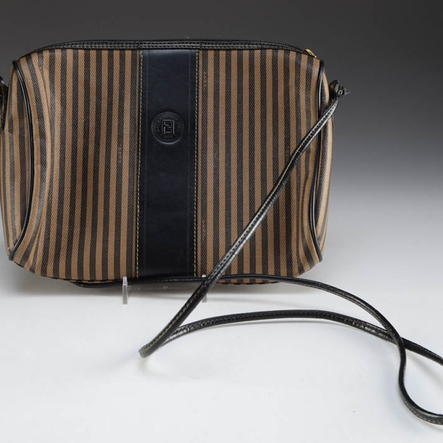 e29629d37f Vintage Fendi Striped Canvas Crossbody Bag   EBTH