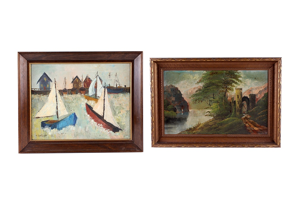 Pair of Original Oil Paintings with Sailboats
