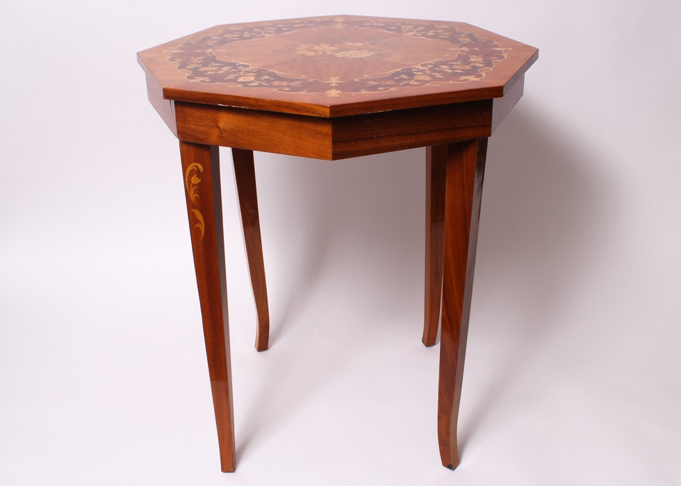 Exceptionnel Vintage Octagon Inlaid Italian Music Box Table ...