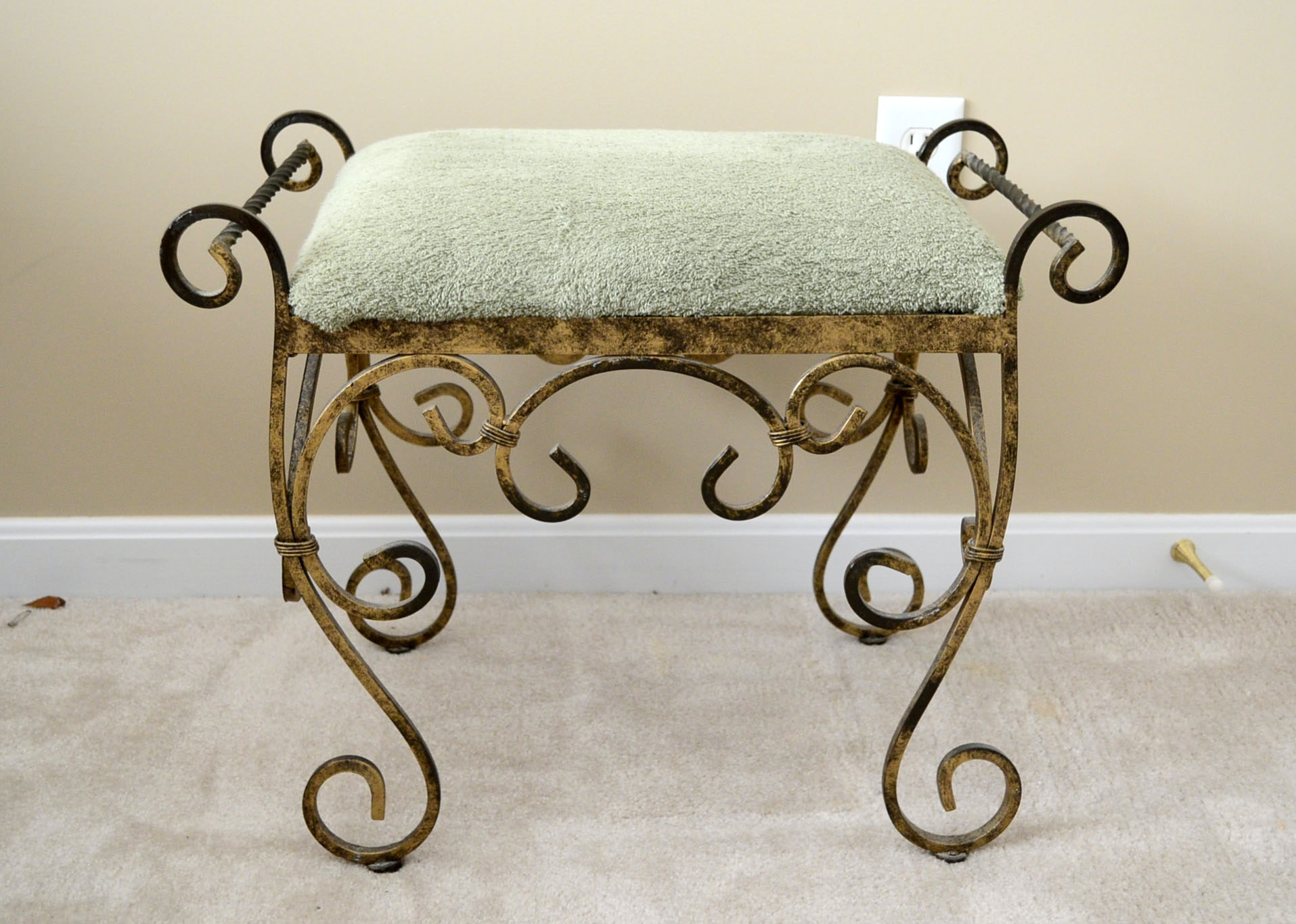 Wrought Iron Vanity wrought iron vanity stool : ebth